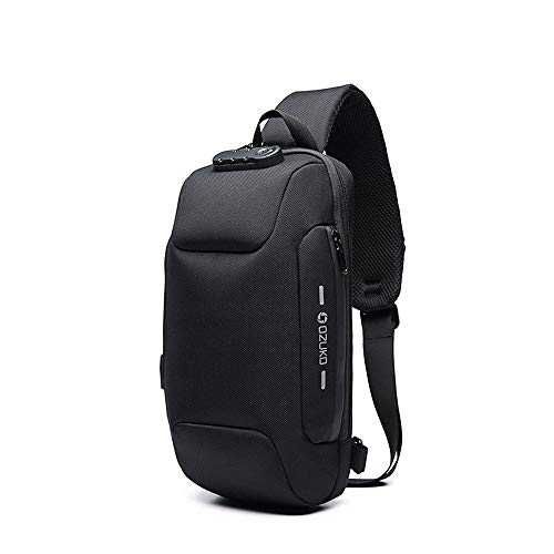 (Wisfruit Anti Theft Sling Bag with USB Charging Port Casual Lightweight Chest Crossbody Daypack Waterproof (black) )