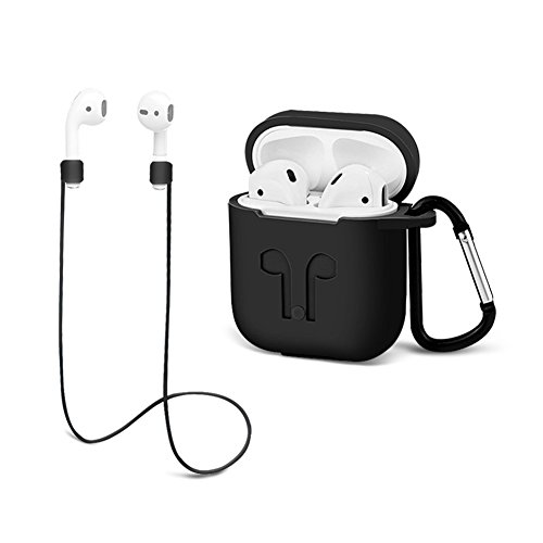 Airpods Protective case with Strap Silicone Cover Keychain Strap for Apple Airpod Accessories - Black by GIM