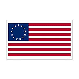 CafePress - Betsy Ross Flag Rectangle Sticker - Rectangle Bumper Sticker Car Decal