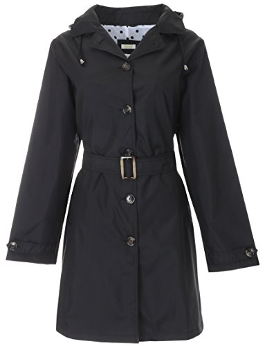 Capelli New York Ladies Solid Trench Coat With Belt Black Combo Large
