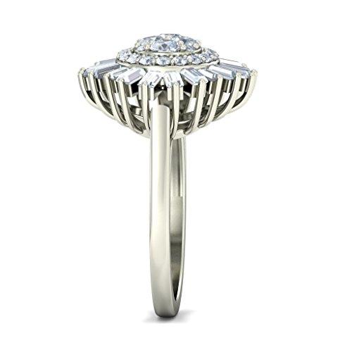 14K Or blanc, 1.44carat rond et diamant sertie d '(IJ | SI) Cocktail en diamant