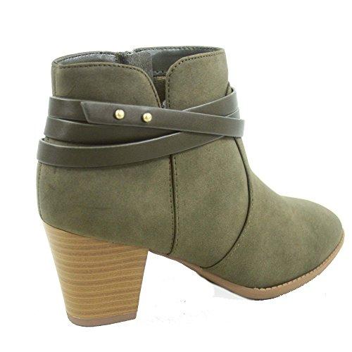 Ciudad Clasificada Cityclassified Dian-s Mujeres Fashion Almond Toe Correas Western Chunky Heel Botas Zapatos Khaki
