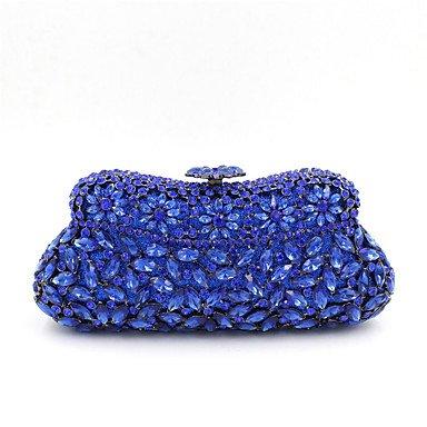 La mujer velada de poliéster Bolsa de material especial All Seasons evento casual/fiesta de boda acrílico Minaudiere Joyas Crystal/embrague bolso más colores, azul Blue