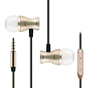 Wired Headphones,In Ear Magnetic Metal Sport Earbuds Sweatproof Headsets with Mic,Noise Canceling Hifi Stereo Heavy Bass Earphones for Workout Running Jogging Gym for iPhone Samsung by Mayama(Gold)