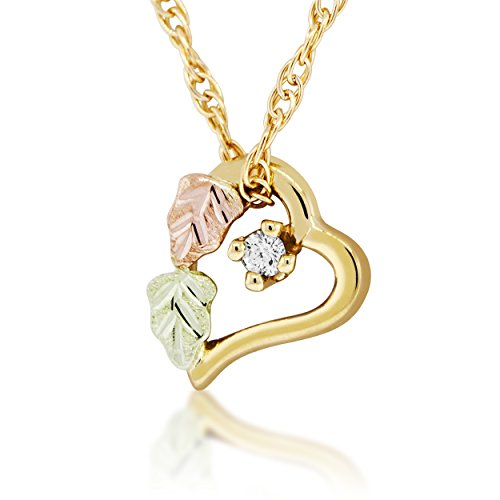 - Black Hills Gold Floating Heart Pendant with Diamond