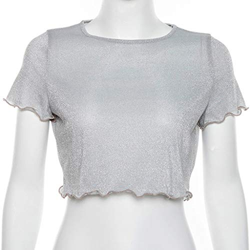 - ONLY TOP Women's Sexy See Through Shirt- Loose T-Shirt Short Sleeve Blouse Sheer Mesh Tops White