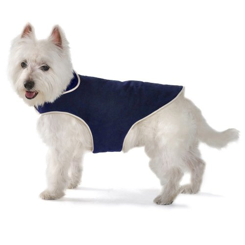 Dog Gone Smart Jacket with Ecru Piping for Dogs, 12-Inch, Navy, My Pet Supplies