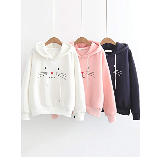 Cat Printing Blouse Hooded Navy Tops T Sleeve Sweatshirt Long Women Autumn Shirt qFtOAwS