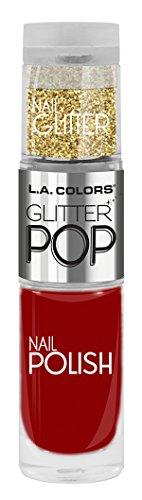 (L.A. Colors Glitter Pop Nail Polish, Star Struck-Red, 0.17 Fluid)