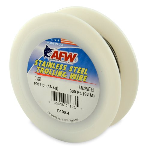 American Fishing Wire Stainless Steel Trolling Wire (Single Strand), Bright Color, 100 Pound Test, 300-Feet