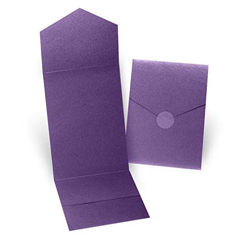 "Fine Impressions 5.25"" x 7.3"" Pocket Folders, Purple Shim..."