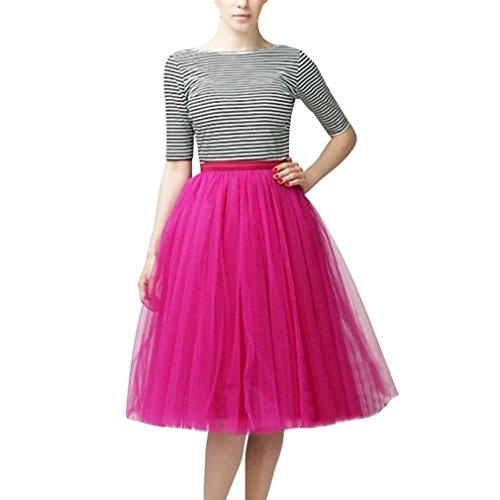 Wedding Planning Women's A Line Short Knee Length Tutu Tulle Prom Party Skirt X-Large Rose ()