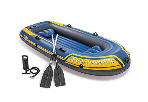 Excursion Boat Sets - Intex Challenger 3, 3-Person Inflatable Boat Set with Aluminum Oars and High Output Air Pump (Latest Model)