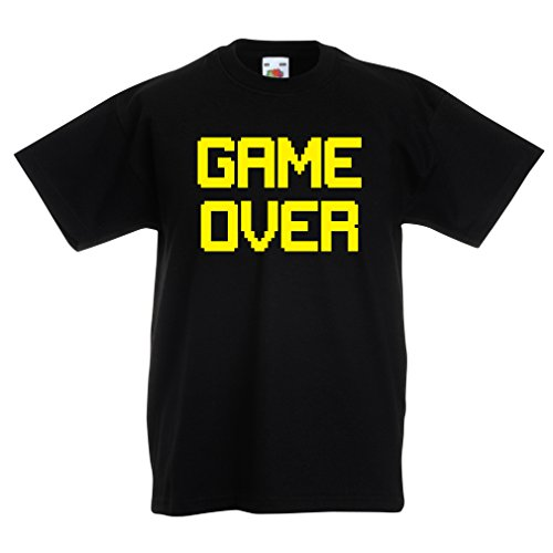 lepni.me Funny t Shirts For Kids Game Over! Vintage t Shirts Funny Gamer Gifts Gamer Shirt (12-13 Years Black Yellow)
