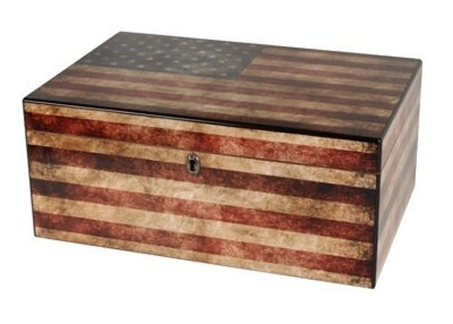 Old Glory Cigar Humidor, Weathered American Flag Exterior, 1 Glass Hygrometer, 1 Rectangle Humidifier, Spanish Cedar Tray with Divider, Holds up to 100 Cigars, by Quality Importers