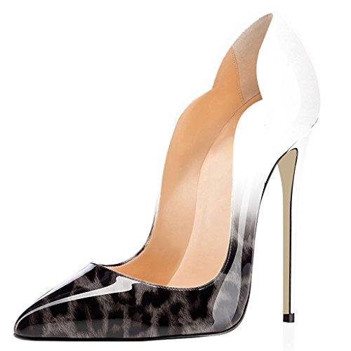 4 ELASHE Aiguille 12cm Gris Taille Stiletto Grande Talon Léopard Chaussures Laçage Escarpins Femmes qvqw1O