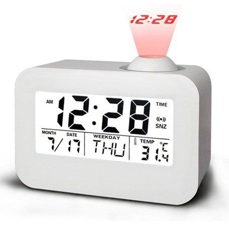 Sorlivatalking orologio proiezione, controllo vocale/luce notturna a LED/Sveglia