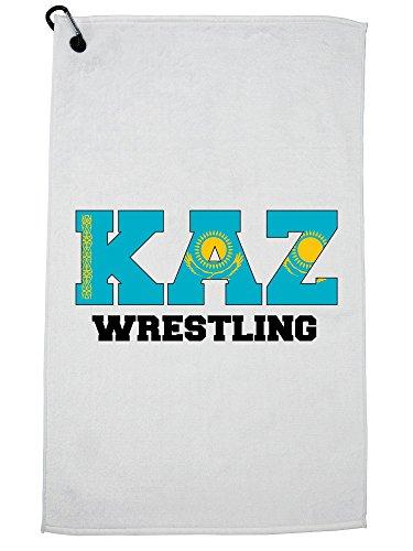 Hollywood Thread Kazakhstan Wrestling - Olympic Games - Rio - Flag Golf Towel with Carabiner Clip by Hollywood Thread