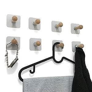 VTurboWay - 8 ganchos de pared adhesivos; ganchos de madera ideales como percheros para colgar sombreros, abrigos, toallas, llaveros, en muros o ...