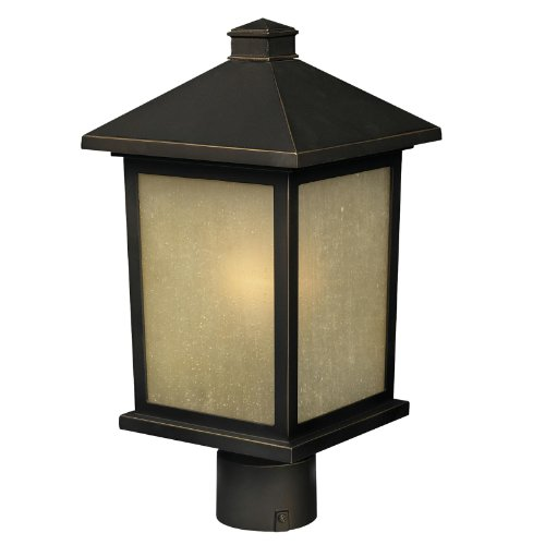 Z-Lite 507PHM-ORB Holbrook Outdoor Post Light, Metal Frame, Oil Rubbed Bronze Finish and Tinted Seedy Shade of Glass ()