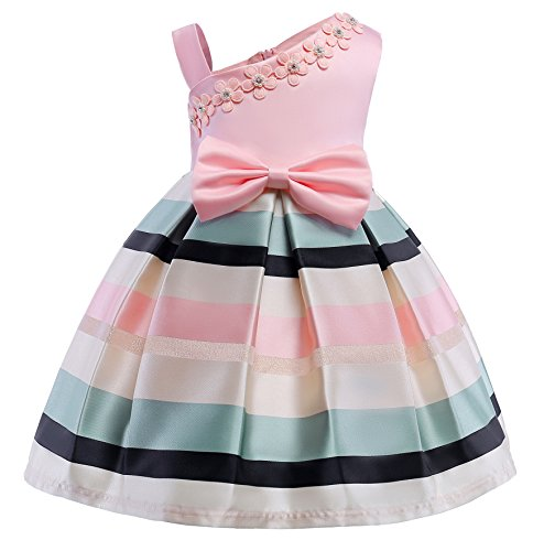 NSSMWTTC Teenages Girls A-Line Dresses Birthday Party New Year Wedding Color Block Dress (Pink,130) -
