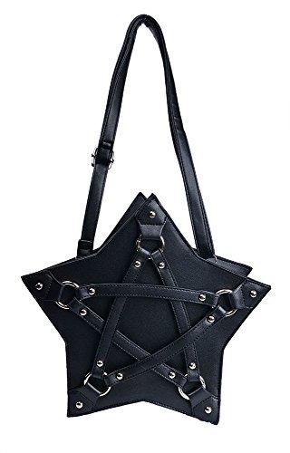 Nite closet Gothic Bags and Purses Pentagram Star Shoulder Bag for Women (Black)