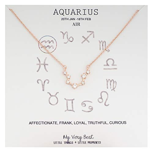 My Very Best Horoscope Constellation Zodiac Sign Necklace (Aquarius (Jan 20  – Feb 18)_Rose Gold Plated Brass)