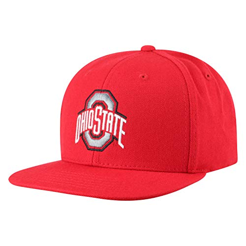 Top of the World Men's Flat Brim Fitted Hat Team Icon, Ohio State Buckeyes Red, Adjustable (State Flat Buckeyes Ohio Bill Hat)