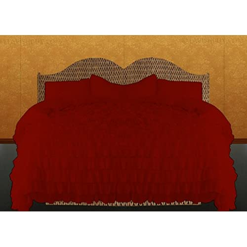 Kotton Culture 1000 Thread Count Luxurious 100% Egyptian Cotton Ruffle Duvet Cover (Ruffle Duvet Cover with Zipper Closure) Solid By (Burgundy, Twin) for sale