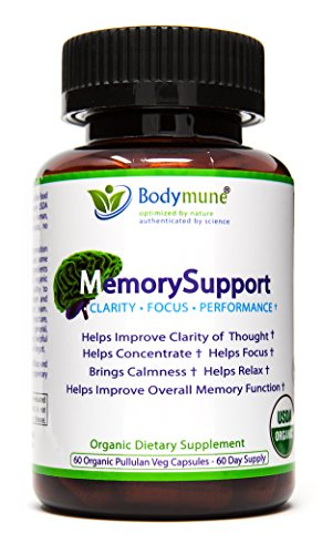 USDA Organic Ashwagandha Ginko Biloba Spirulina Chlorella Brahmi Omegas All Natural Nutritional Memory Support for Dementia and Mental Exhaustion by Bodymune   Vegan Gluten-free Non-GMO 2 Month Supply by Bodymune