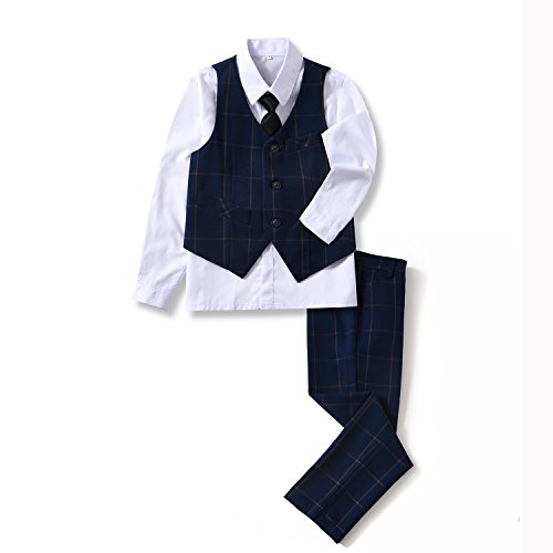 (YuanLu 4 Piece Boys' Formal Suits Set with Vest Pants White Dress Shirt and Tie Plaid Navy Size 8)