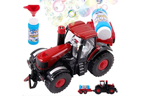 Bubble Farm Tractor Truck Toy Bump & Go Bubble Blowing Tractor Truck Carrying Trailer Battery Operated w/ Music And Flashing Lights , Farmer Car Toy , Christmas Gift ()