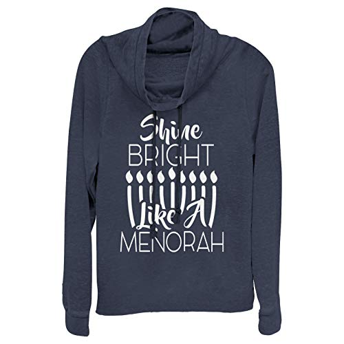 Chin Up Juniors' Hanukkah Bright Menorah Navy Blue Cowl Neck ()