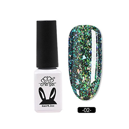 Women's Nail Gel, Iuhan Nail UV Gel Polish Soak Off Nail Art Topcoat Cat Aurora Phantom Gel (B) (Super White Nail Powder)