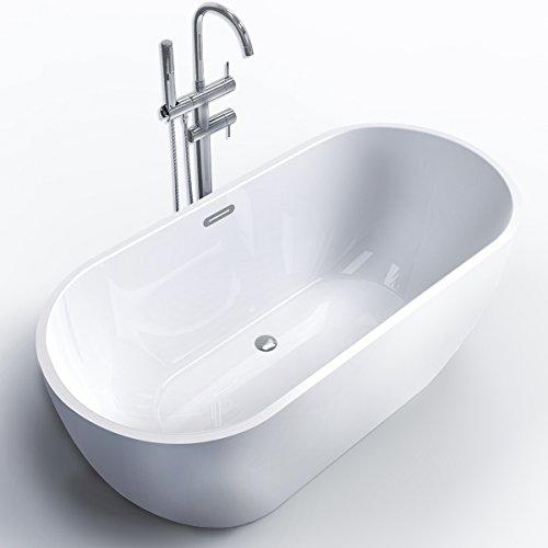 FerdY Freestanding Bathtub, Soaking Bath Tub, Stand Alone Tub for Bathroom, Contemporary Style, High Glossy, Acrylic, White (59