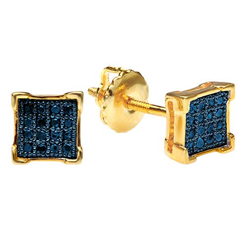 - 0.10 Carat (ctw) 18K Yellow Gold Plated Sterling Silver Blue Diamond V-Prong Mens Stud Earrings