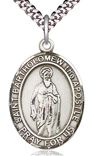 (Heartland Store Men's Pewter Oval Saint Bartholomew The Apostle Medal + 24 inch Rhodium Plate Endless Chain)