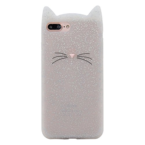 DiDicose iPhone 5 5S Case, iPhone 5C Case, iPhone SE Case,3D Cartoon Animal Translucent Glitter Whiskers Cat Kitty Silicone Rubber Phone Case Cover for Apple iPhone 5 / 5S / iPhone 5C / iPhone SE