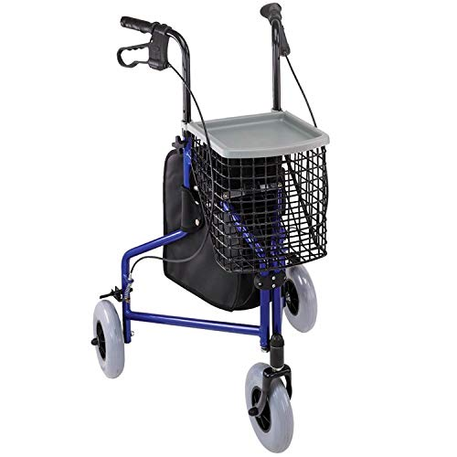 Duro-Med Folding Rollator Walker with Swiveling Front Wheels, 3 Wheel, Aluminum Light-Weight, Detachable Storage Tray, Royal Blue