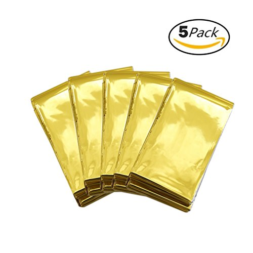 Somine Strong Emergency Blankets 5 Pack 82 x 63 Inches Made of Foil Mylar, Lightweight & Compact for Outdoor Survival Highly Visible Outside Color Absorbs Sunlight to Keeps you Warm