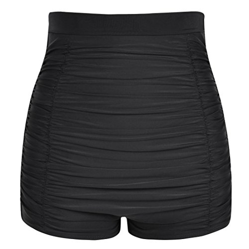 Hilor Women's Retro Ultra High Waisted Swim Bottom Boy Leg Tankini Shorts Ruched Swimwear Briefs Black 10