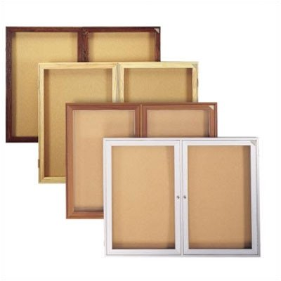 Enclosed Bulletin Board (2 door) Frame: Outdoor Satin Aluminum, Size: 36