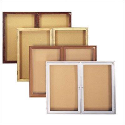 (Enclosed Bulletin Board (2 door) Frame: Outdoor Satin Aluminum, Size: 36