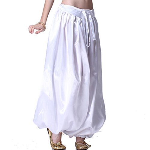 MUNAFIE Belly Dance Arab Carnival Satin Pants White,One Size