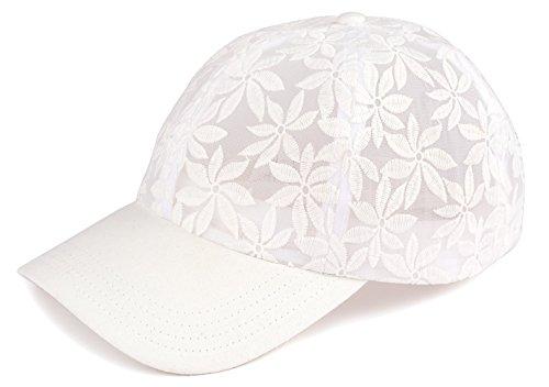 H-6053-09 Floral Print Baseball Cap - Sheer Daisy (White)