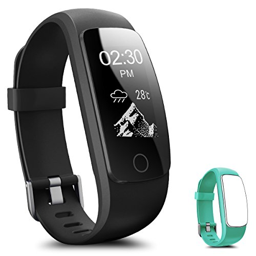 Fitness Tracker, Coffea H7-HR Activity Tracker : Heart Rate Monitor Wireless Bluetooth Smart Wristband Bracelet, Waterproof Fitness Watch with Replacement Band for Android & IOS (Black+Teal Band) Motion Fitness Treadmill