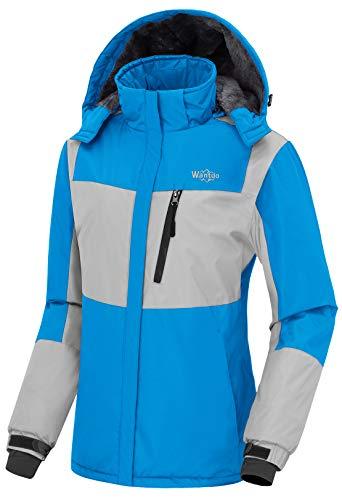 (Wantdo Women's Skiing Jacket Water Resistant Windproof Parka Coat Sky Blue L )