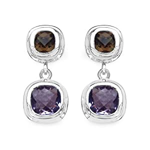 Amethyst and Smoky Quartz .925 Sterling Silver Dangle Earrings for Women 6.60ctw. from Johareez