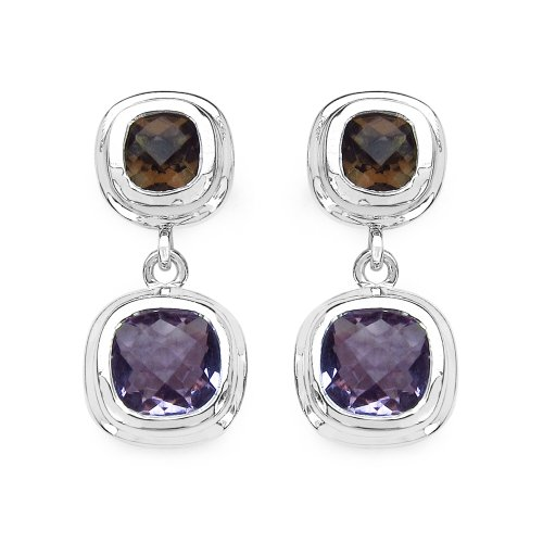 Johareez Amethyst and Smoky Quartz Gemstone Earrings in Sterling Silver