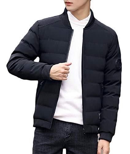 Mogogo Mens Zipper Stand Collar Pocket Long Sleeve Warm Thickened Down Coat Black